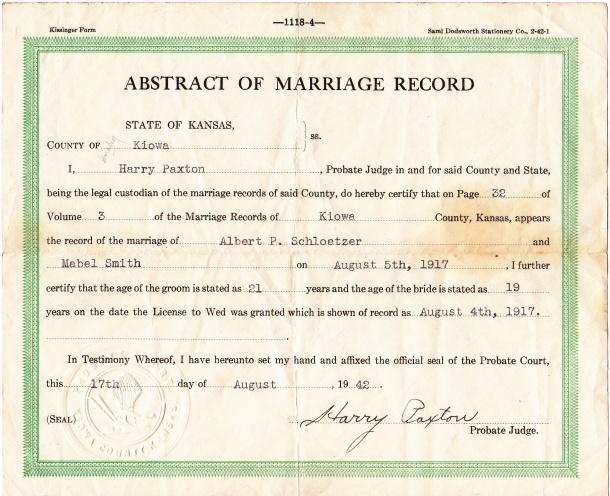 Grandma and Grandpa's Marriage Record
