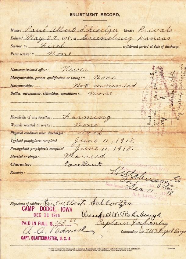 Grandpa Albert's Enlistment Record